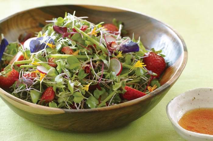 Microgreens Salad with Strawberry-Lime Vinaigrette